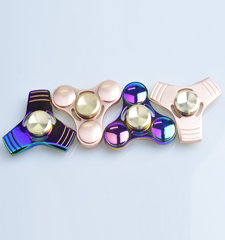 Customize Anti Stress Rainbow Gyroscope Gift Toy Triangle Metal Hand Spinner