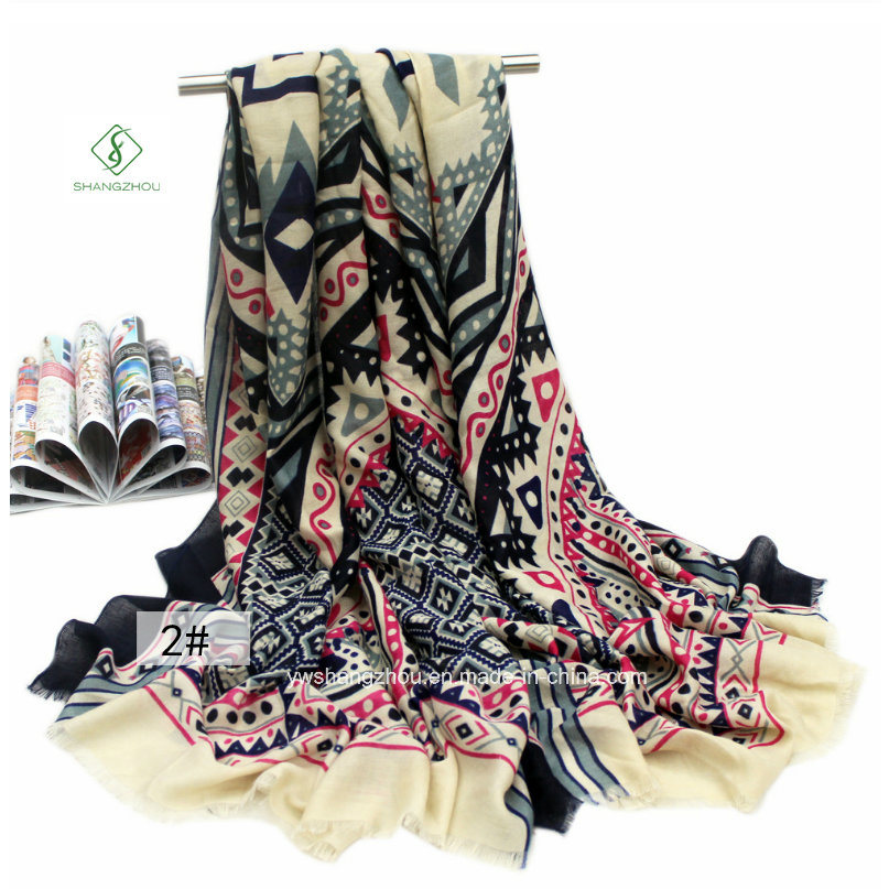Fashion National Style Printed Satin Lady Scarf