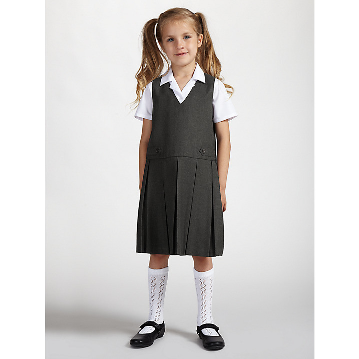 Custom Classic Plain Striped Grid School Uniform Dress for Grils