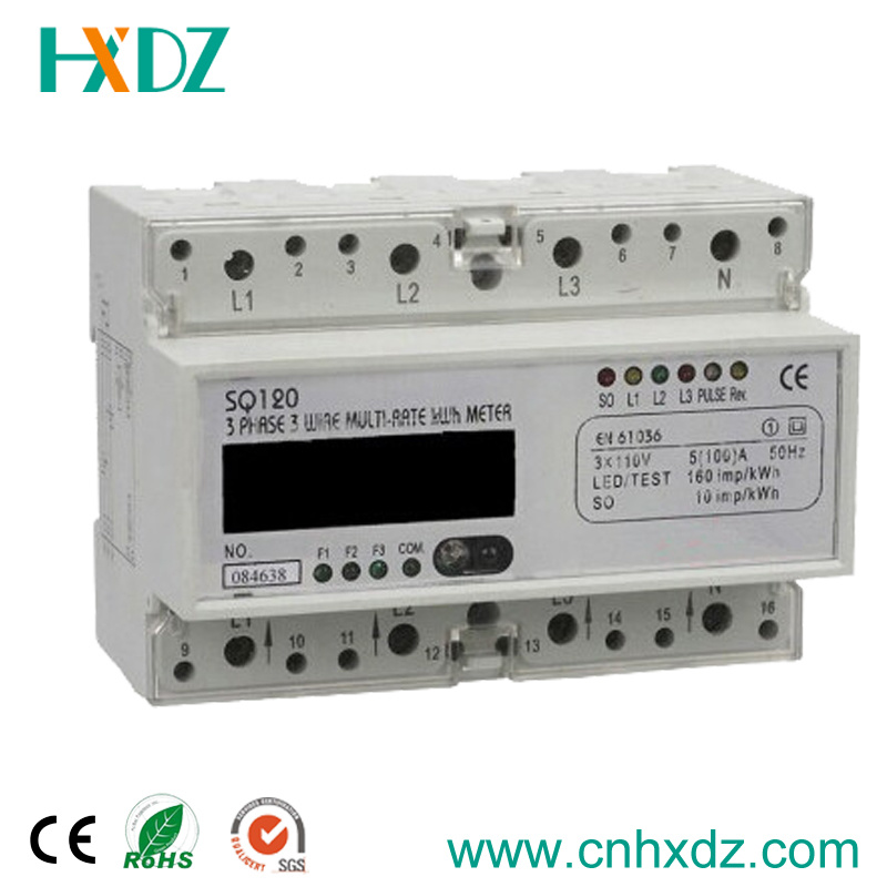 LCD Display DIN Rail Three Phase Electronic Multi-Rate Watt-Hour Meter