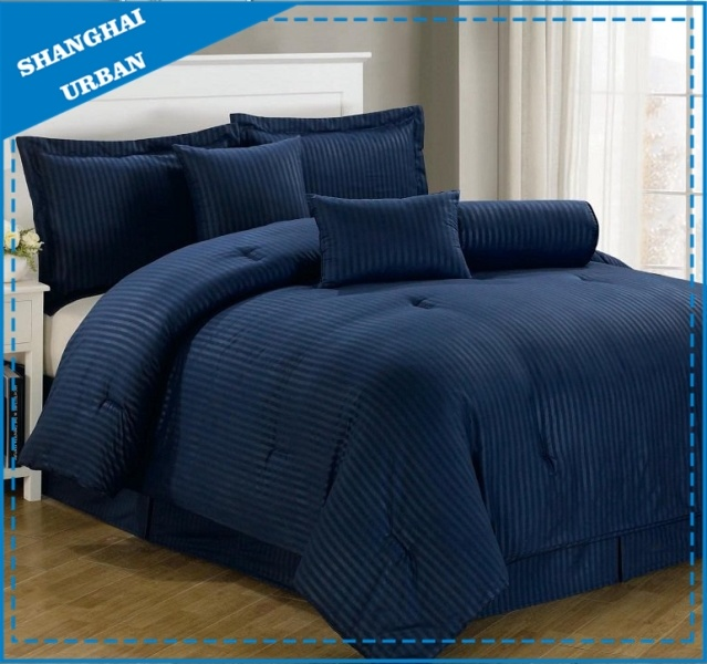 7PCS Dobby Stripe Hotel Polyester Comforter Bedding