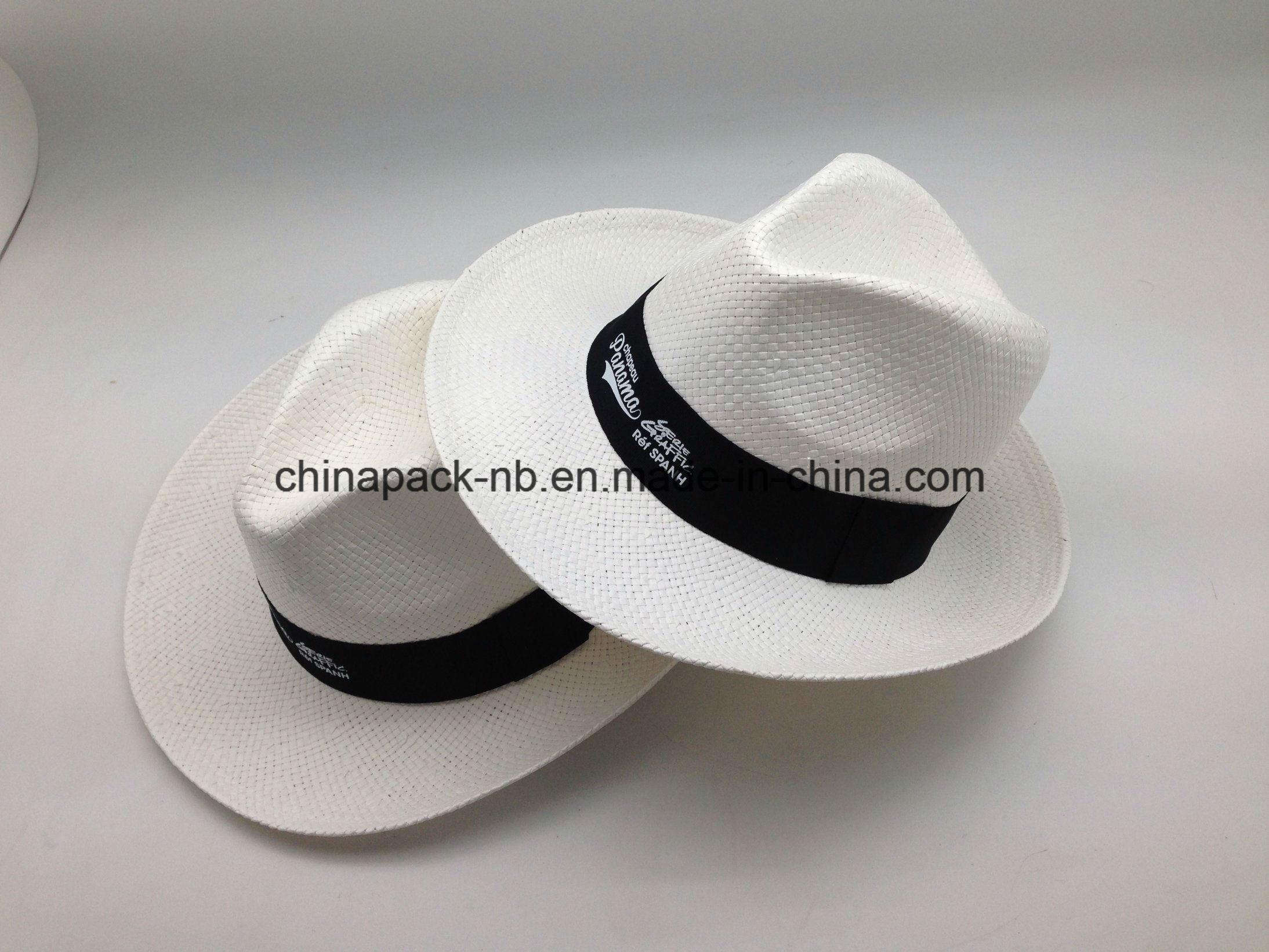 White Panama Fedora Paper Straw Hats (CPA_90052)