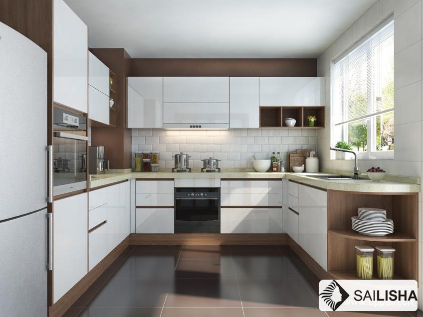 Norway Modern Home Hotel Furniture Island Wood Kitchen Cabinet