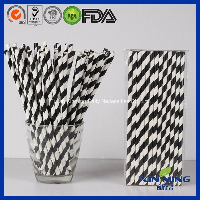 Food Grade Birthday Party Decoration, Black Striped Paper Straw