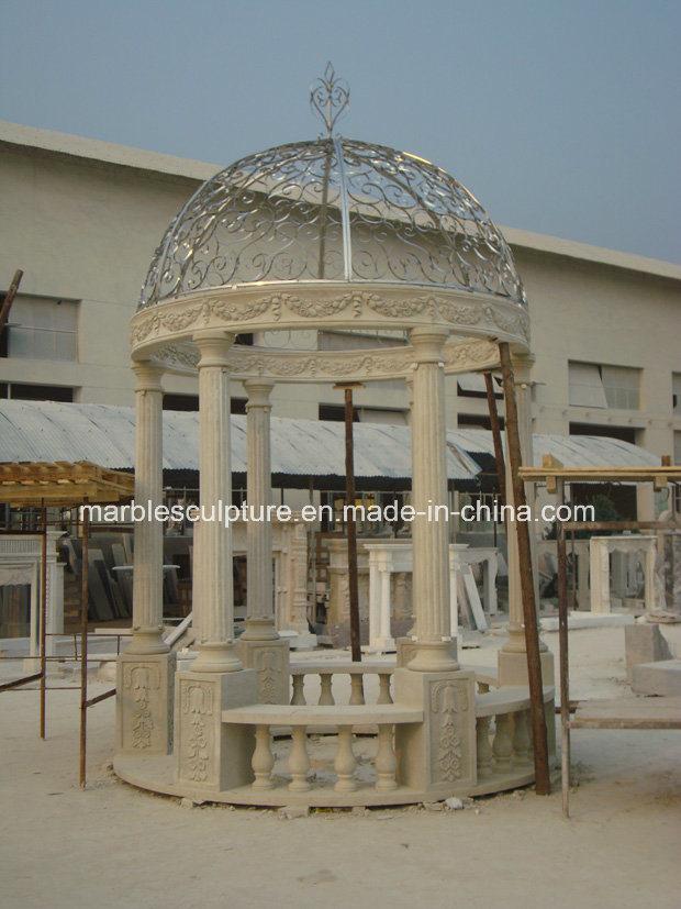 Egypt Beige Cream Quyang Stone Sculpture Marble Gazebo (SY-G003)