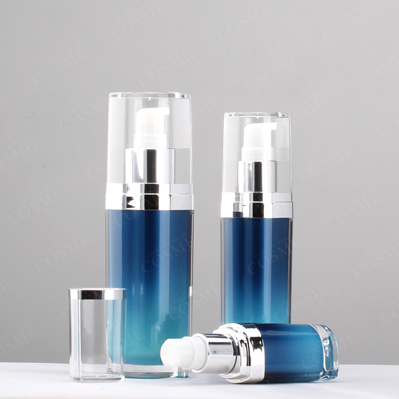15ml 30ml 50ml 120ml Oval Silver Plastic Acrylic Luxury Cosmetic Packaging Lotion Pump Bottle