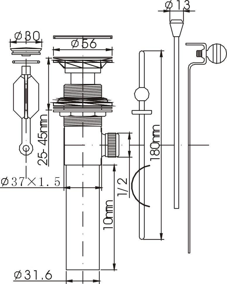 Bathroom Accessory Pull-up Brass Basin Drain with Rod