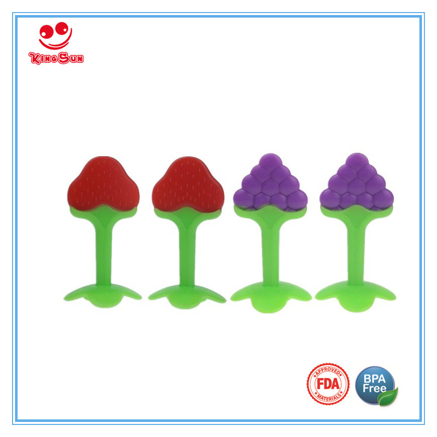 Food Grade Pure Silicone Baby Teether with Fruit Shape