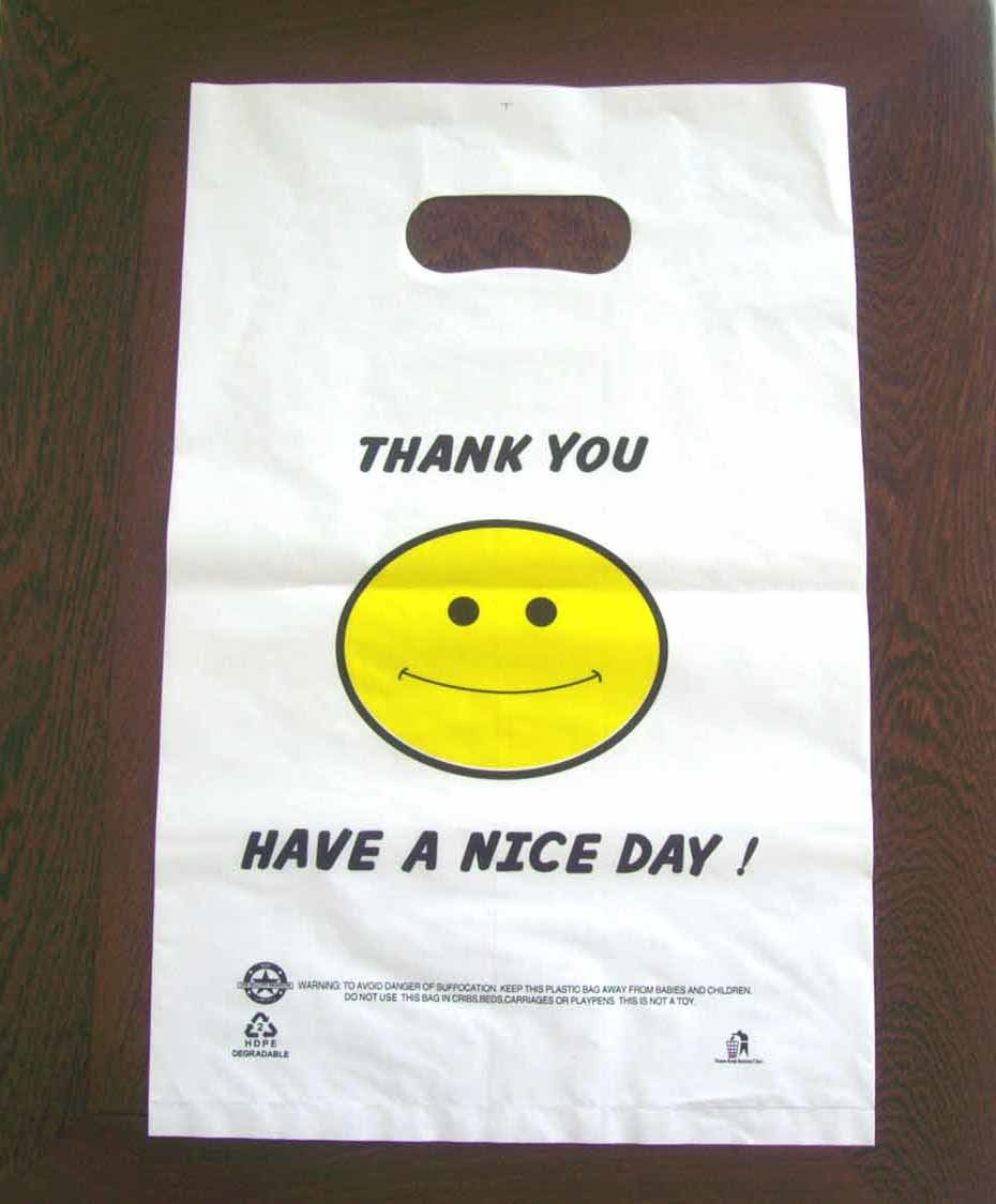 HDPE White Plastic Die Cut Bag with Printing