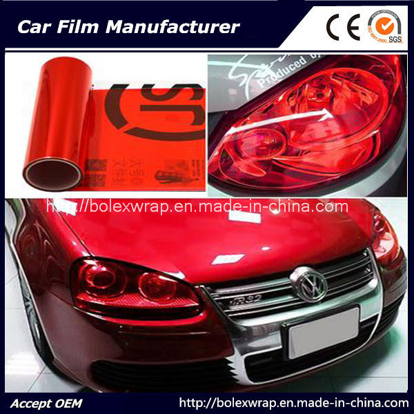 Self-Adhesive Red Car Headlight Tint Vinyl Films 30cmx9m