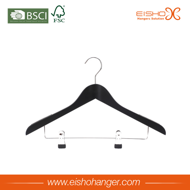 Black Color Wooden Suit Shirt Clothes Hanger with Clips (3LHL0009)