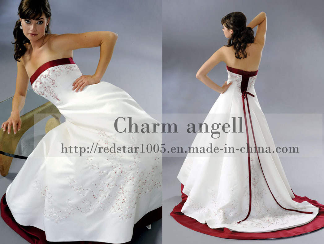 White And Red Wedding Dresses From China 93