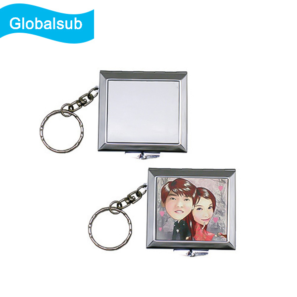 Printed Metal Keychain Travel Makeup Mirror for Sublimation