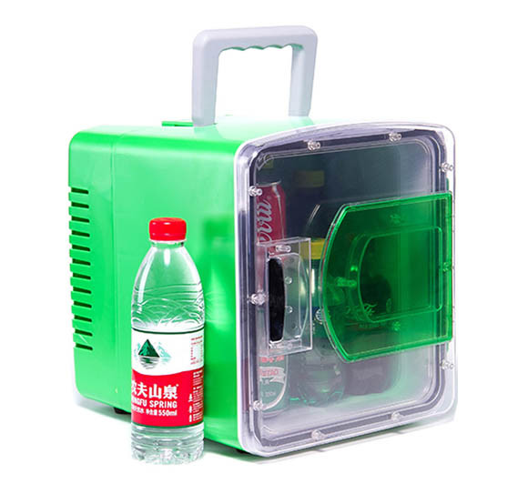 Transparent Door Mini Fridge 8 Liter DC12V, AC100-240V in Both Cooling and Warming Function