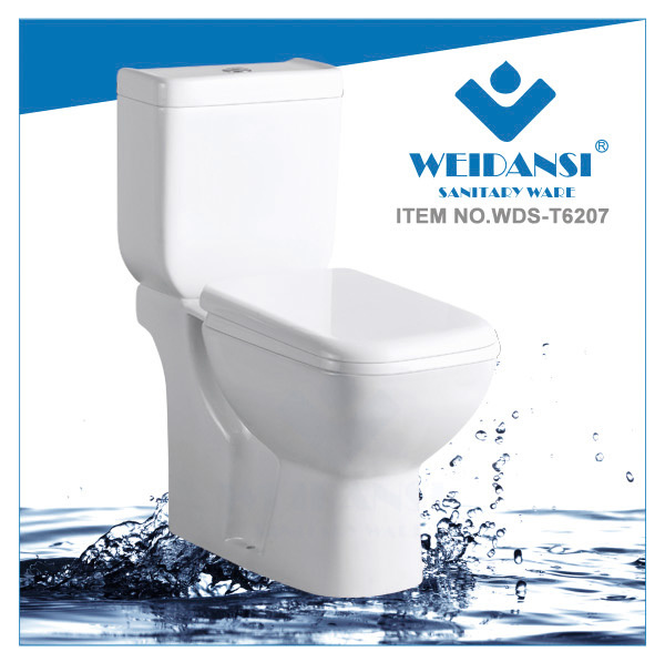 Weidansi Ceramic Wash Down S-Trap Two Pieces Toilet (WDS-T6207)