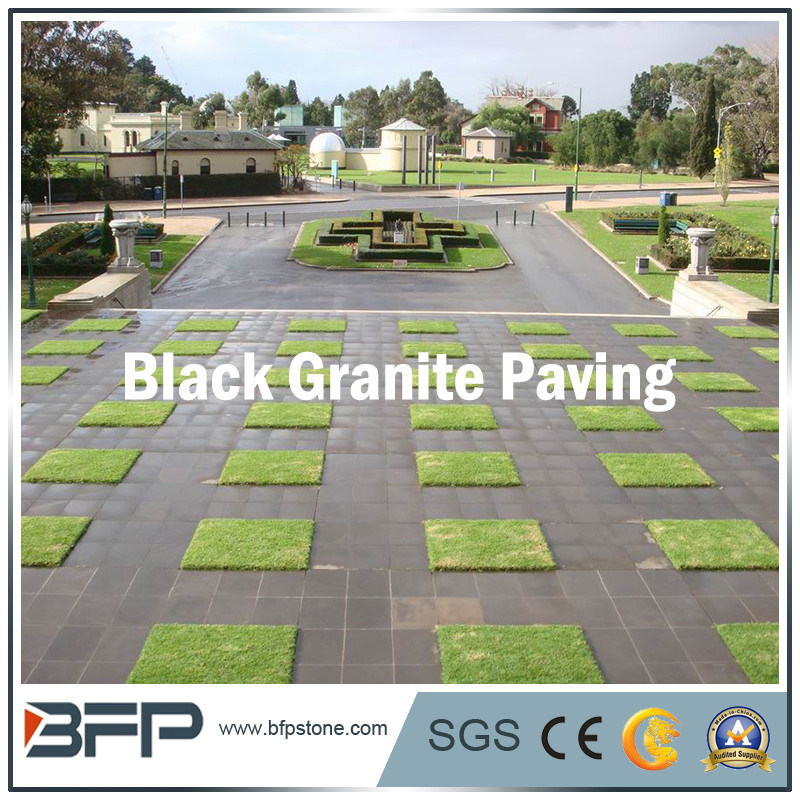 Natural Granite/Basalt/Limestone Black Paving Stone Floor Tile
