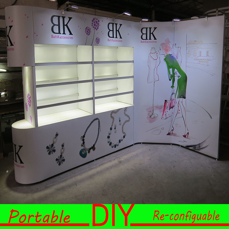 Custom Design Portable Modular Trade Show Exhibition Material for Jewelry
