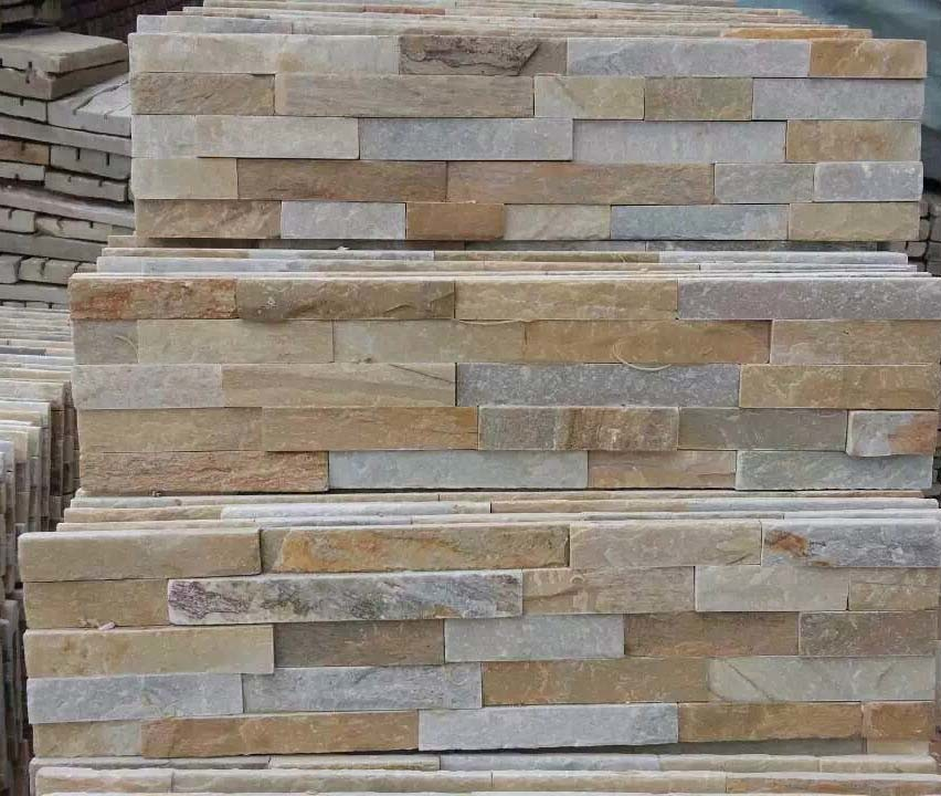 Popular Yellow Quartz Culture Stone Stack Stone for Wall Cladding