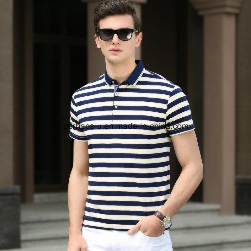 High Quality Striped Slim Men Polo Shirt Sports Wear Golf Clothes