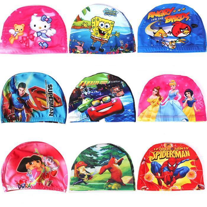 Children Cartoon Polyester Swim Cap