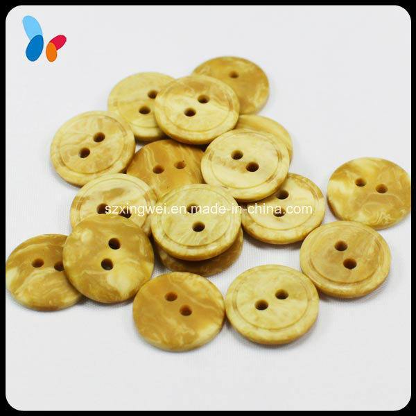 Fashion Two Holes Round Resin Button Imitation Wood Button