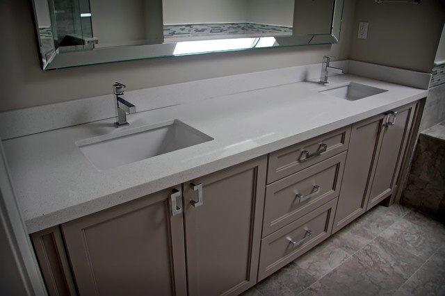 China White Quartz Bathroom Countertop With Flat Eased Edge Photos Pictures Made In