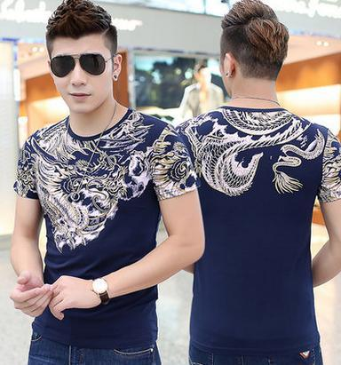 Men Fashion V-Neck Lycra Stripe T-Shirt