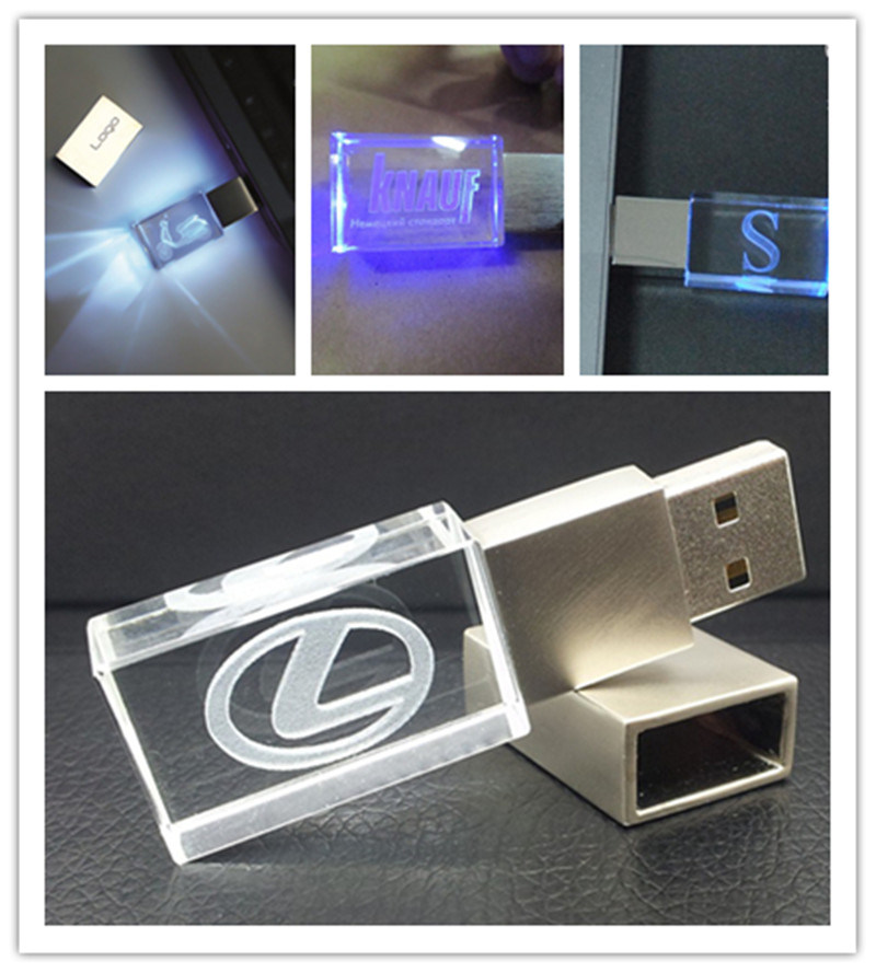 1GB/2GB/4GB/8GB/16GB/32GB/64GB Customized 3D Laser Logo Crystal USB Pen Drive