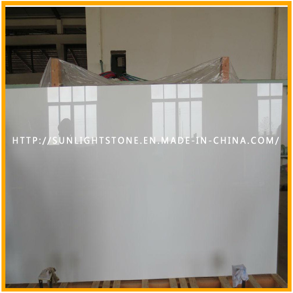 Pure White Nano Crystallized Glass Stone for Vanity Tops Tiles