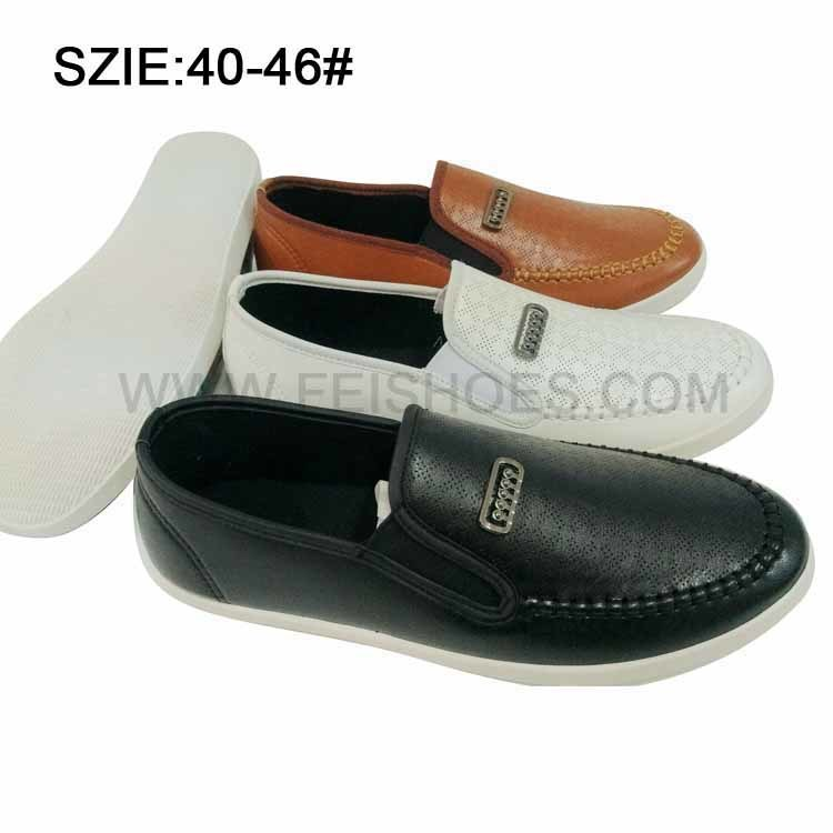 Latest Low Price Men′s Slip on Injection Casual Leather Shoes
