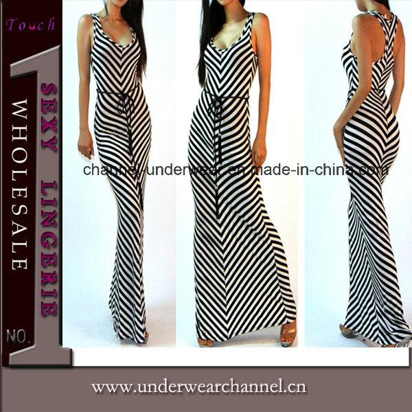 Sexy Lady Strip Beach Wear Maxi Long Prom Dress