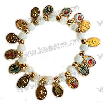 Cheap Glass Pearl Beads with Saint Alloy Sheet, Religious Prayer Bracelet
