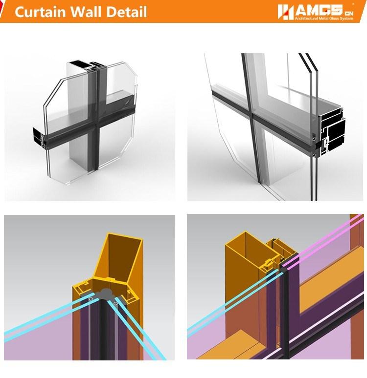 Commercial Morden Building Exterior Aluminum Panel Aluminum Frame Glass Curtain Wall