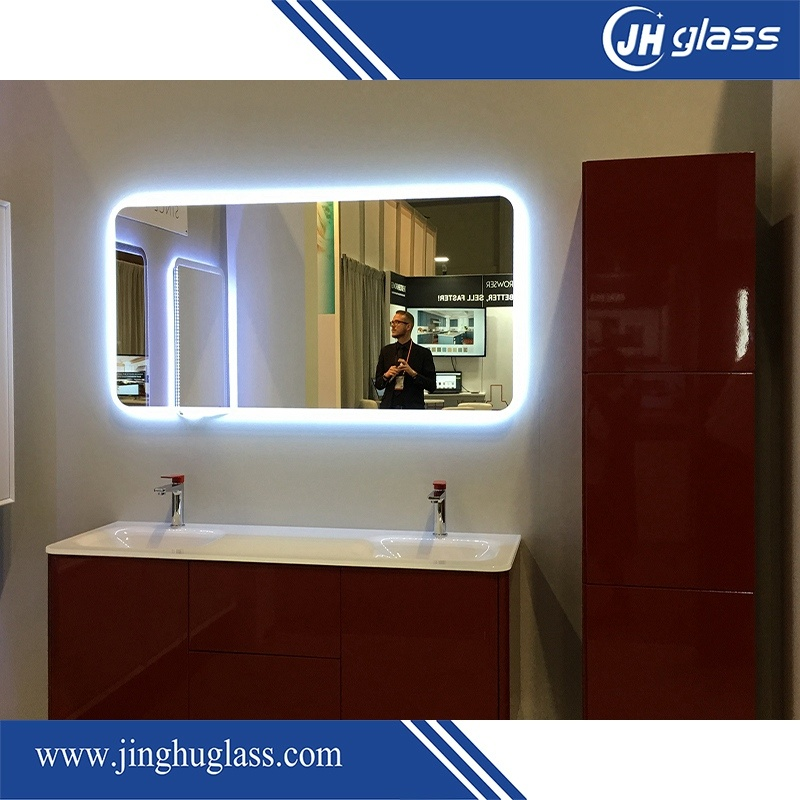 Bathroom Frameless LED Illuminated Bordered Mirror with Touch Sensor Infrared Sensor
