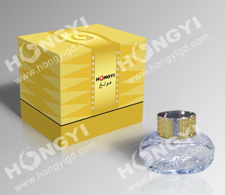 Gloden Customized+Hot Stamp Cardboard Perfume Box for Gift Packaging (HYP009)