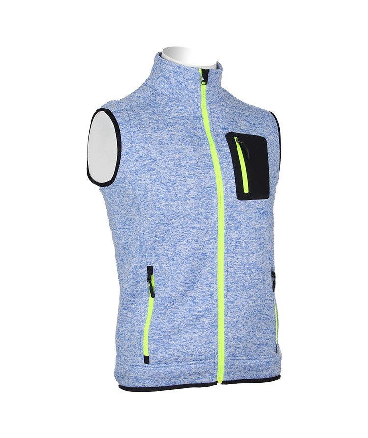 Stylish High-Necked Men Vest Jacket Fleece with Fluorescent Zipper