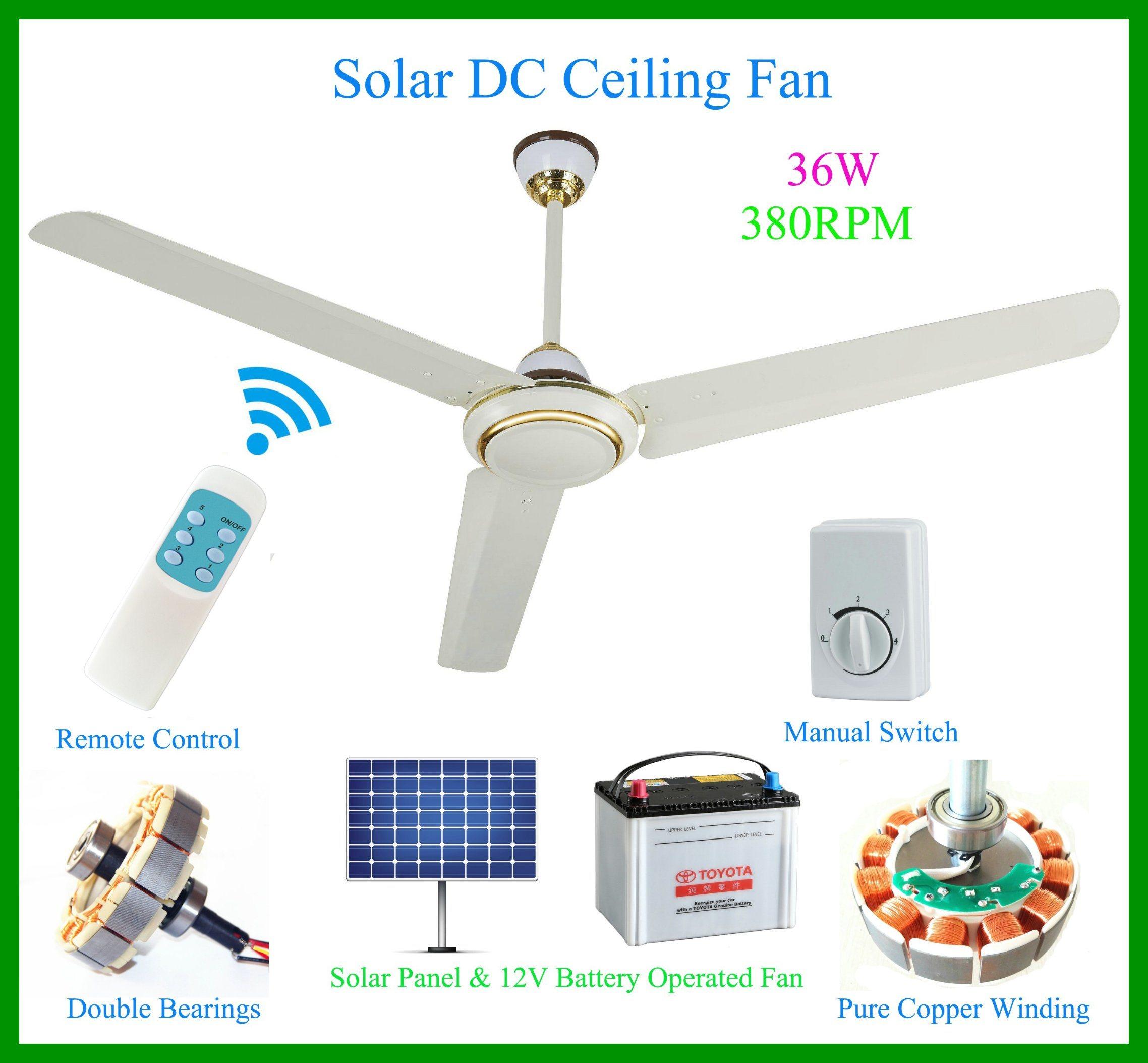 China Super High Speed 12 Volt Solar DC Ceiling Fan 2 380rpm