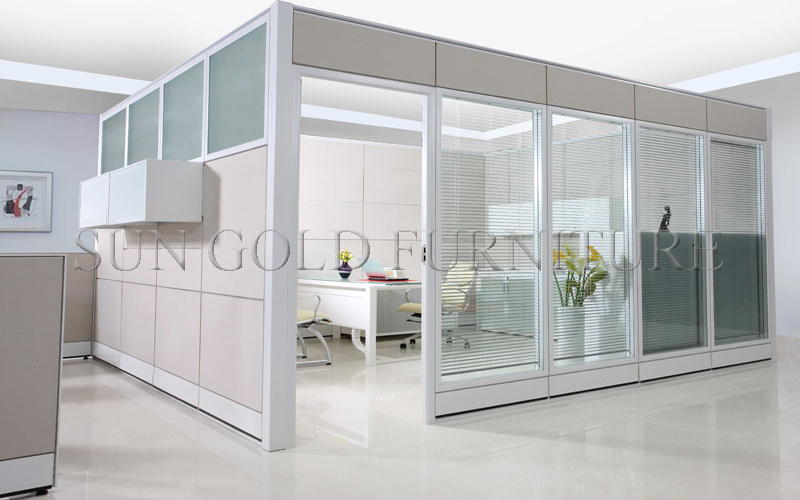Modern Office High Partition Wall with Glass Aluminium Frame (SZ-WS035)