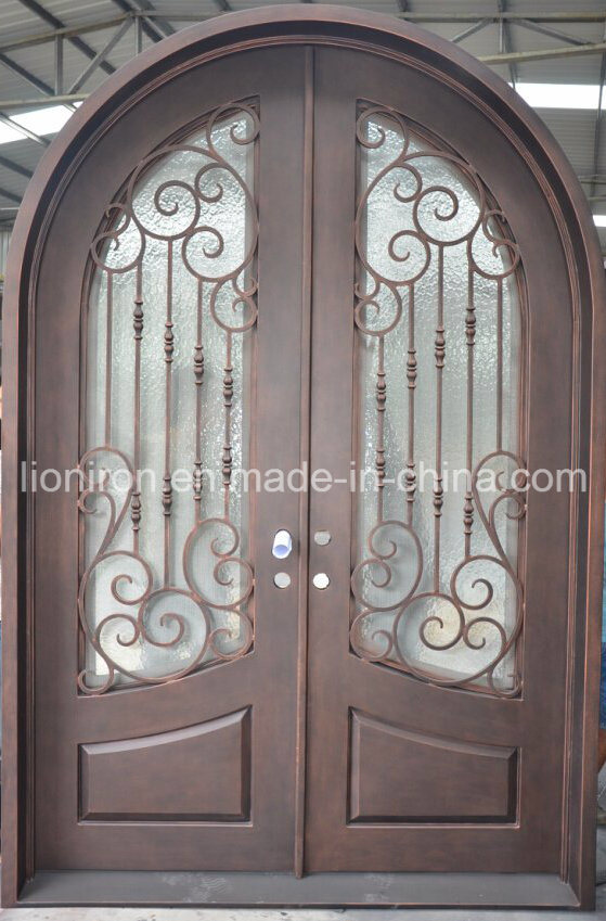 Round Top Wrought Iron Front Entry Doors for Villa