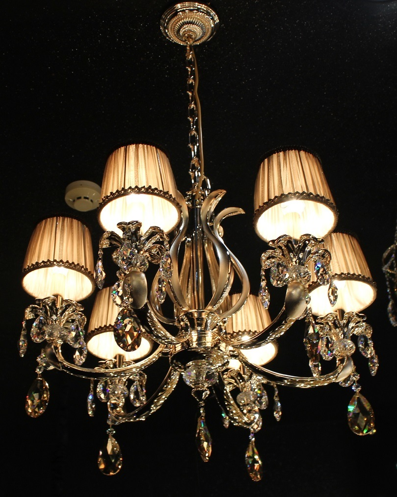 Phine pH-0814z 15 Arms Modern Swarovski Crystal Decoration Pendant Lighting with Fabric Shade Fixture Lamp Chandelier Light