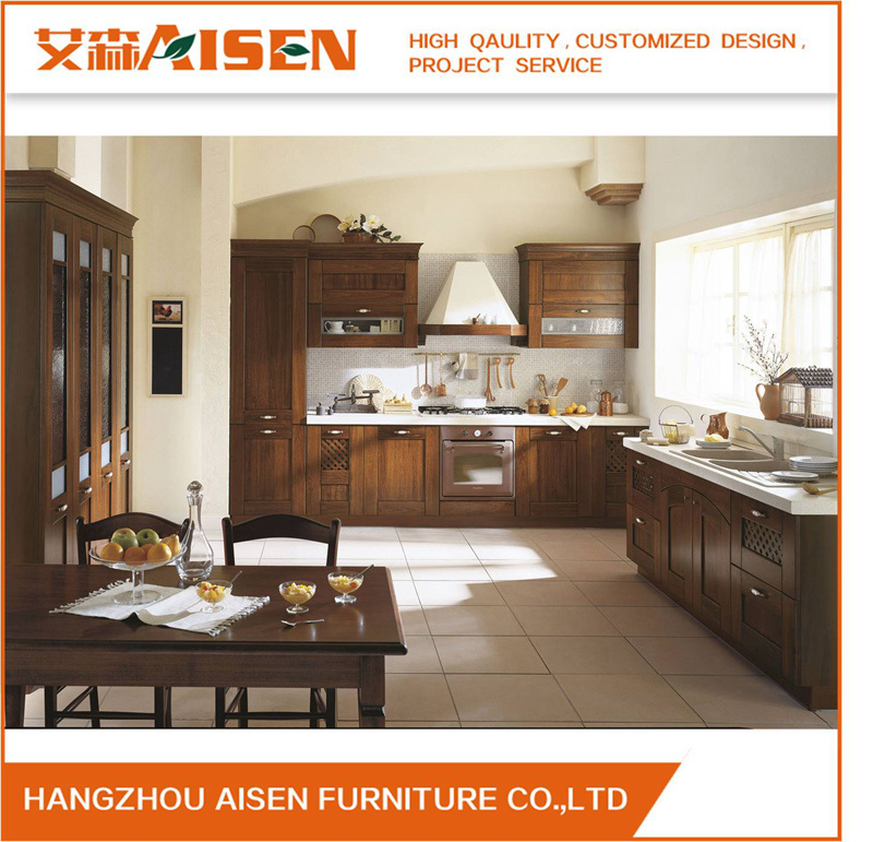 2017 Kitchen Furniture Luxury Solid Wood Kitchen Cabinet Assw032