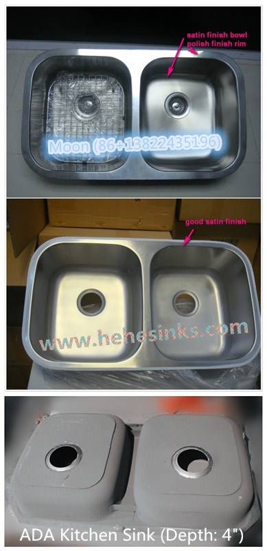 Undermout Stainless Steel Sink 50/50 Double Bowl Kitchen Wash Sink with Cupc Certificate