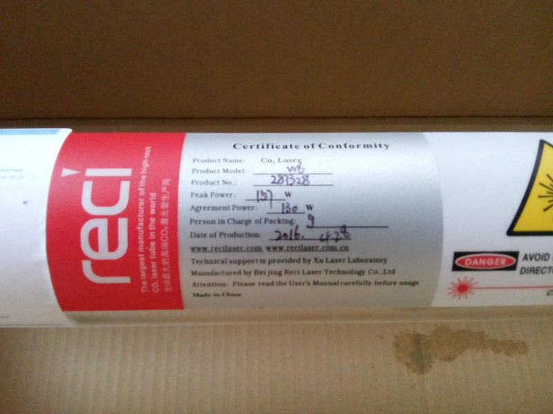 80W / 100W / 130W / 150W CO2 Laser Tube Reci or Yongli