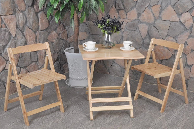 Outdoor Folded Table and Chair Wooden Garden Set (M-X1028)