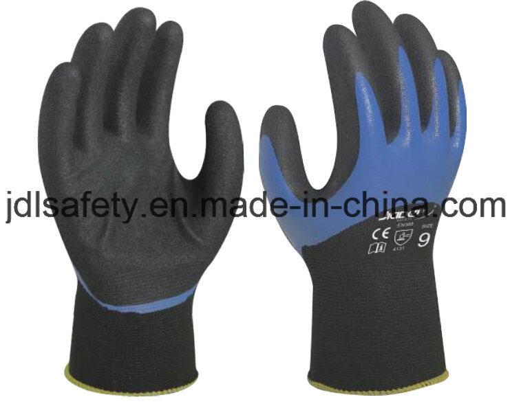 Blue Work Glove with Sandy Nitrile Coating (N1605)