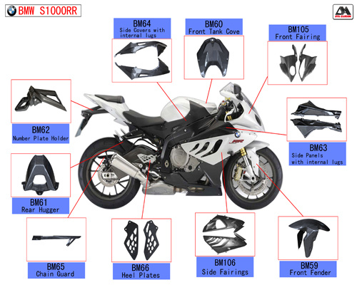 Carbon Fiber Motorcycle Parts for BMW S1000rr