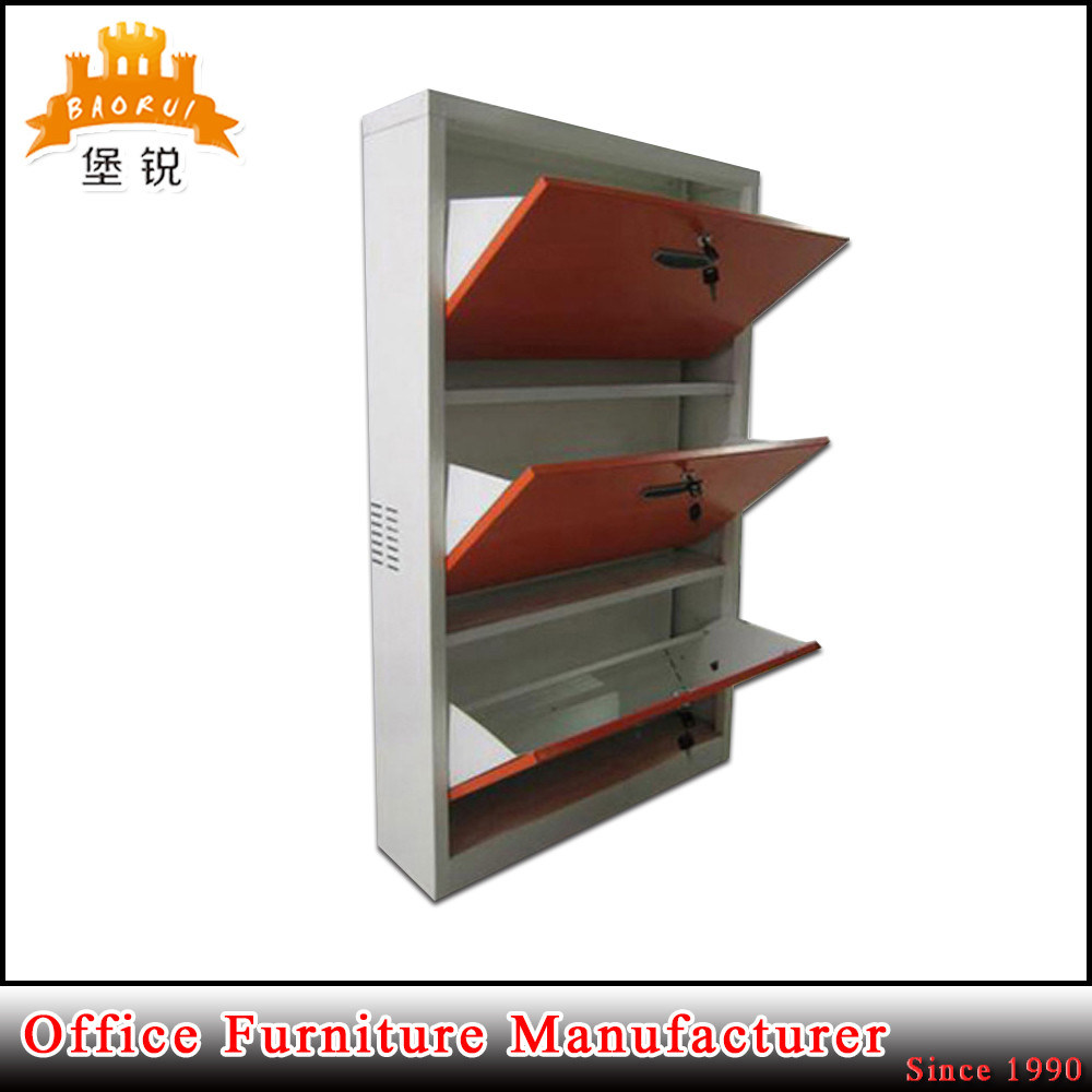 3 Layers Flat Pack Metal Shoe Storage Box Cabinet with Lock Steel Furniture for Storing Shoes