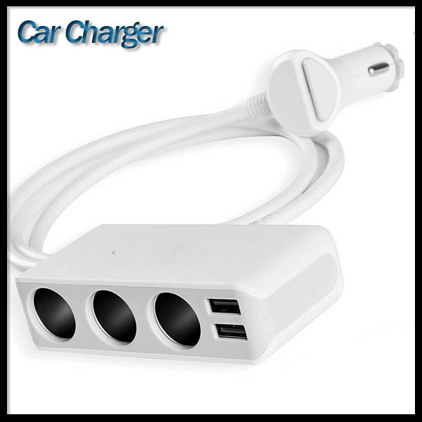 3 Cigarette Lighter Power Adapter DC Outlet Splitter Dual USB Car Charger