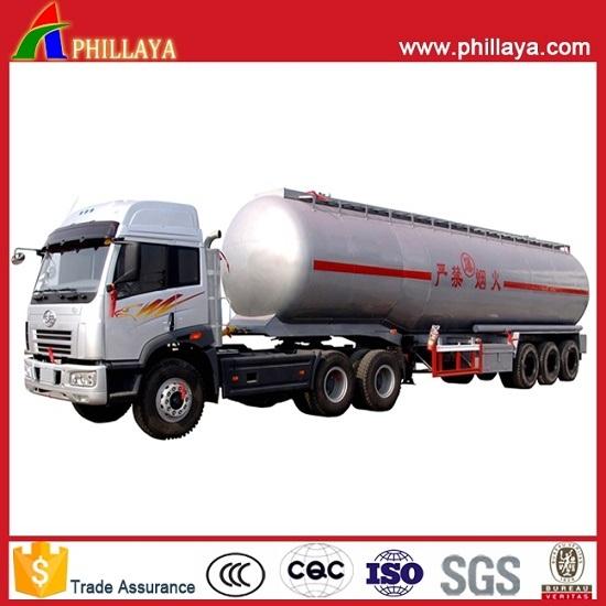 3axles Oil Mobile Tank Semi Trailer Stainless Steel Fuel Tanker with Volume 30-60cbm