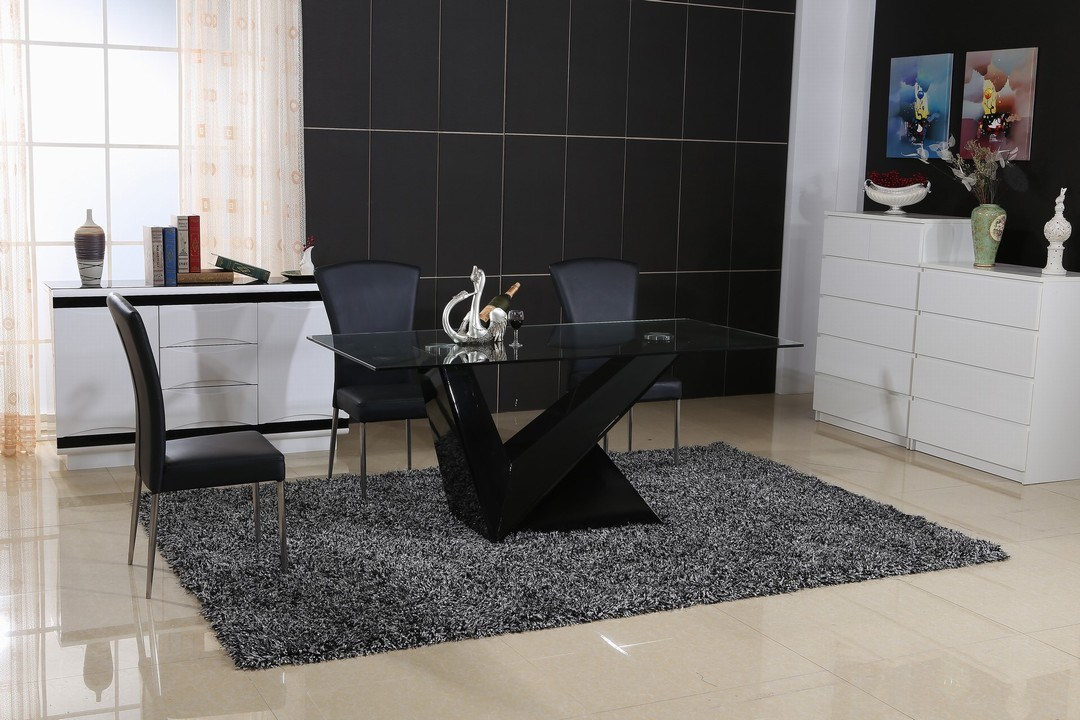 Modern High Glossy Dining Table and PU Chair